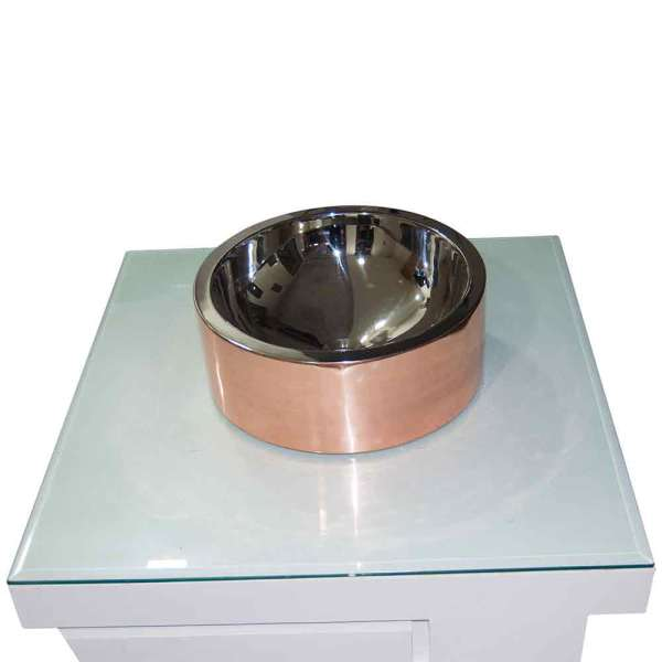 Double Wall Copper Sink Nickel Inside Shiny Copper Outside - Coppersmith Creations