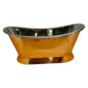 Copper Pedestal Tub Nickel Interior - Coppersmith Creations
