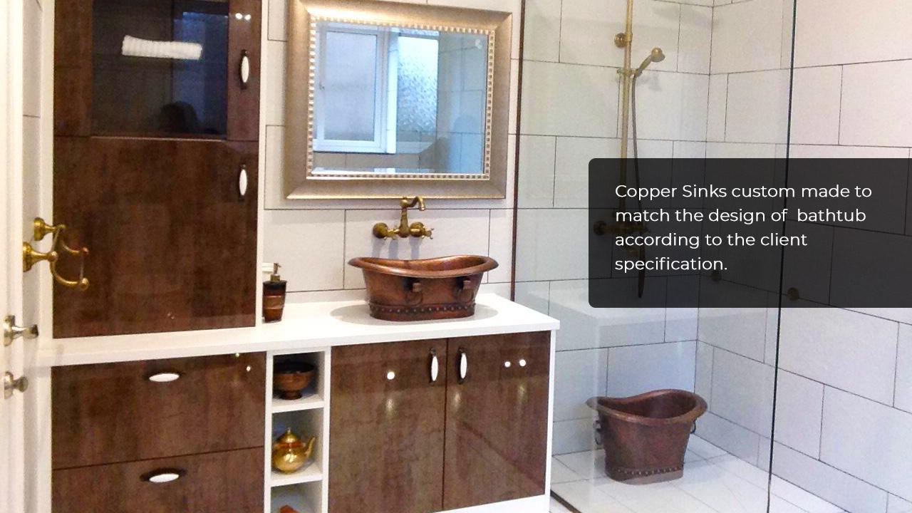 Copper Double Slipper Pedestal Tub