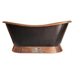 Slanting Base Copper Bathtub Copper Inside & on Base Black Outside