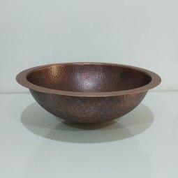 Round Hammered Copper Bowl Sink