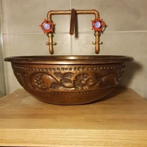 Copper Sink Embossed Hammered