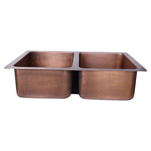 Double Bowl Single Wall Copper Kitchen Sink