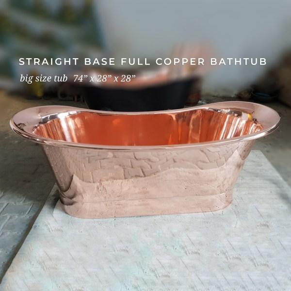 Straight Base Full Copper Bathtub Big Size