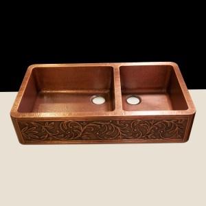 Copper Kitchen Sink 60-40 Split Embossed Hammered Antique