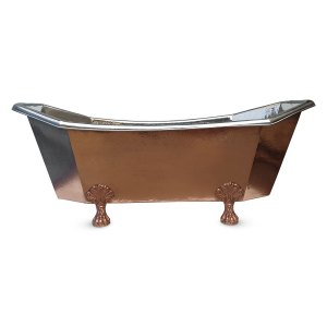 Eight Sided Clawfoot Copper Bathtub Nickel Inside Outside Shining Copper