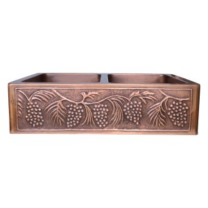 Double Bowl Five Grape Front Apron Copper Kitchen Sink