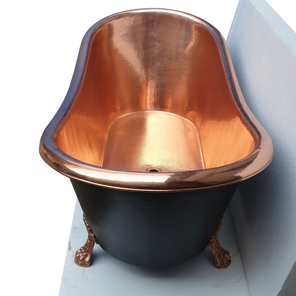 Hammered Clawfoot Copper Bathtub Copper Interior & Black Exterior