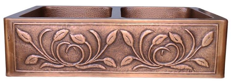 Double Bowl Petal Front Apron Copper Kitchen Sink