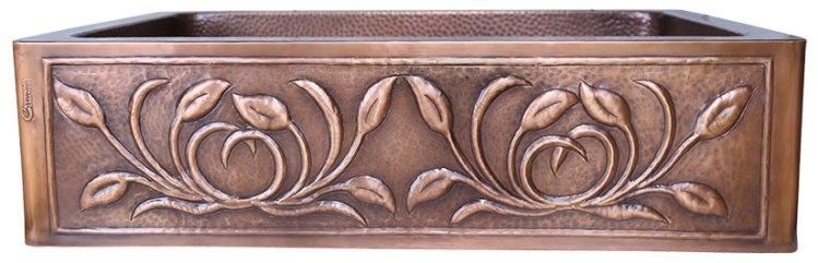 Single Bowl Petal Front Apron Copper Kitchen Sink