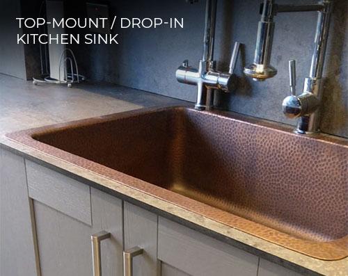 Luxury Top Mount Copper Kitchen Sink