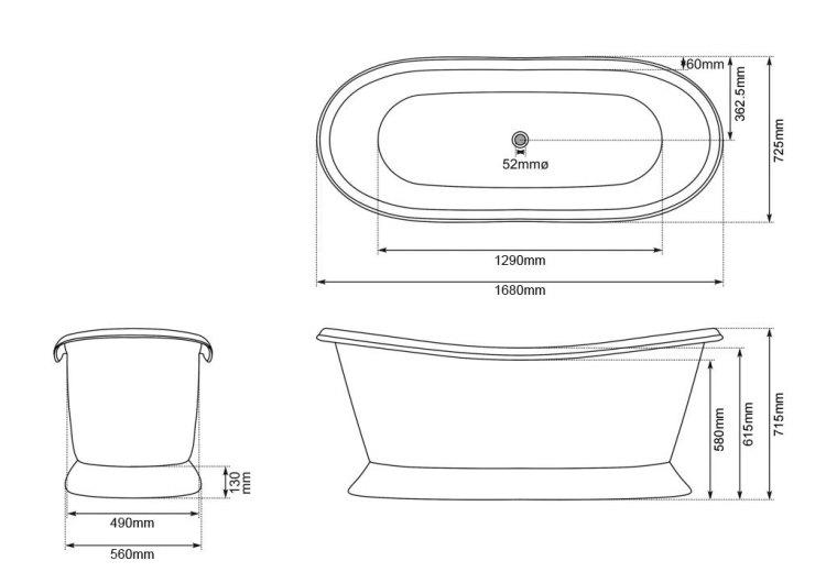 Brass Bathtub Drawing