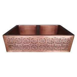 Double Bowl Four Petals in Arcs Front Apron Copper Kitchen Sink