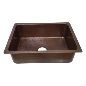 Copper Drop-In Kitchen Sink 23.50 x 17.50 x 8 inch