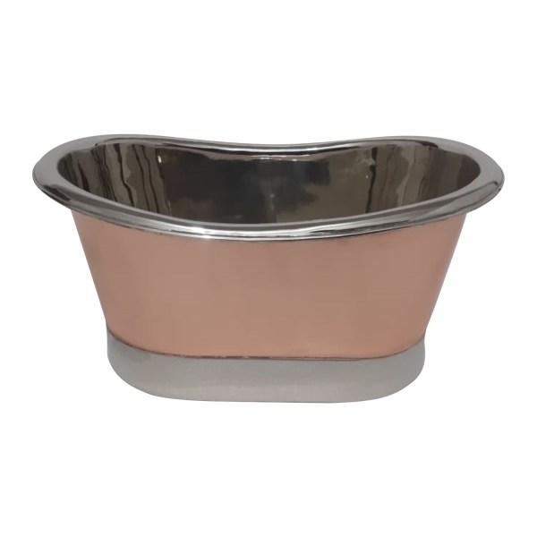 Copper Tub Style Sink Nickel Inside & on Base Copper Outside Straight Base