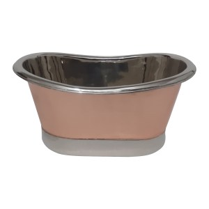 Copper Tub Style Sink Nickel Inside & on Base Copper Outside Straight Base