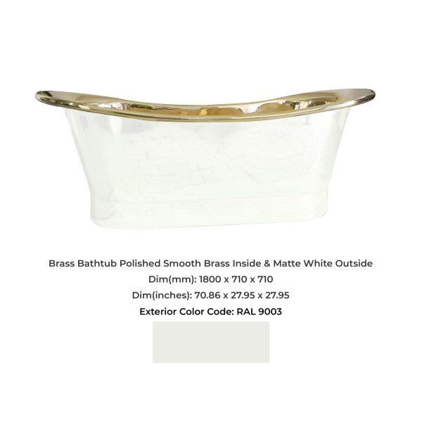 Brass Bathtub Polished Smooth Brass Inside & Matte White Outside
