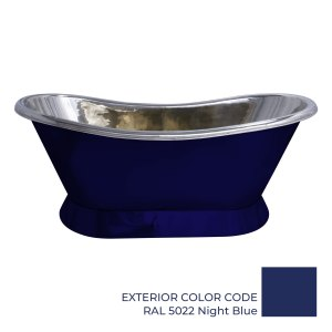 Slanting Base Copper Bathtub Nickel Interior & RAL5022 Night Blue Exterior
