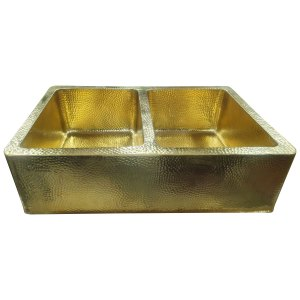 Double Bowl Hammered Front Apron Shining Brass Kitchen Sink