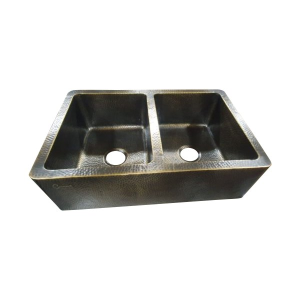 Double Bowl Hammered Front Apron Antique Brass Kitchen Sink