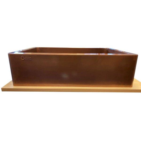 Single Bowl Smooth Front Apron Plain Antique Copper Kitchen Sink