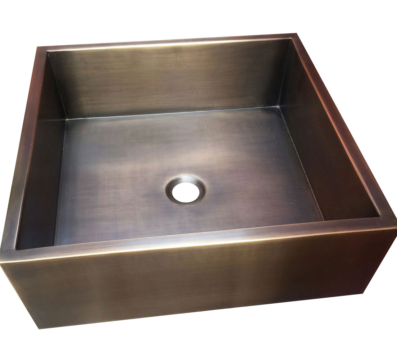Square Double Wall Antique Brass Sink  Coppersmith Creations