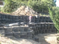 Tyre retaining wall - Central Otago Property Services