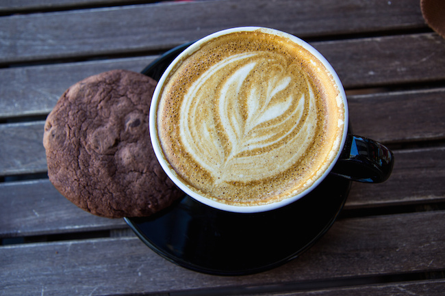 image of a coffee cup with an intricate design in the foam and a cookie next to it on the saucer