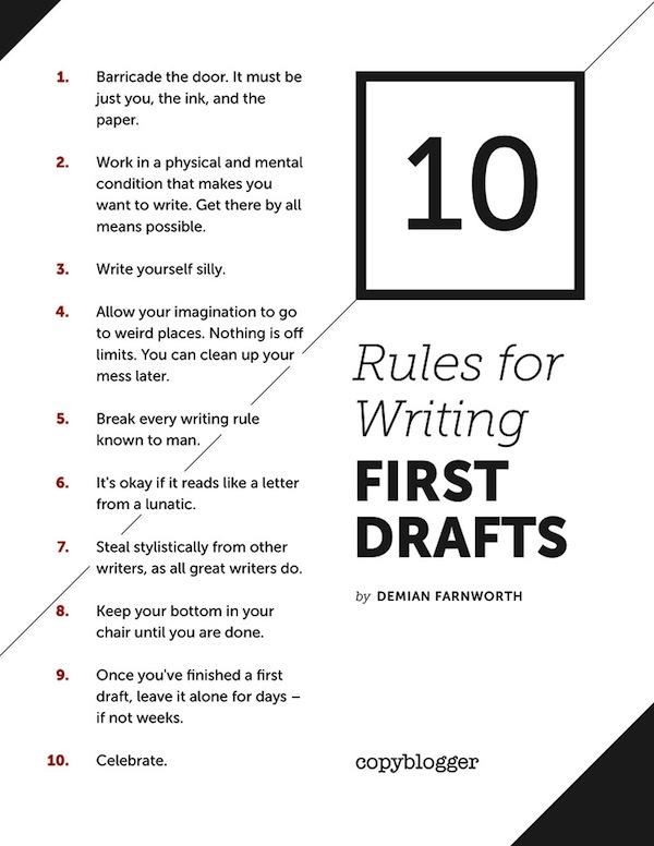 10 Rules for Writing First Drafts Poster  Copyblogger