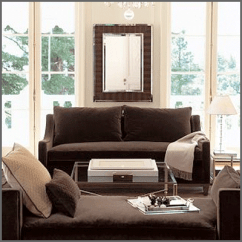 Brown Sofa Room Decor Cushion Williams Sonoma Home Presidio - Copycatchic