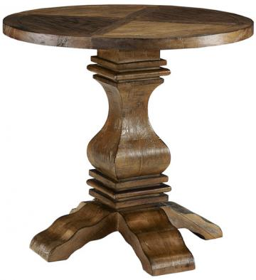 Fabulous Restoration Hardware Pedestal Salvaged Wood Round Side Table