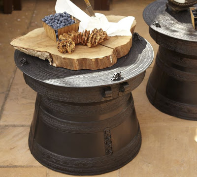 Unique Pottery Barn Frog Rain Drum Accent Table