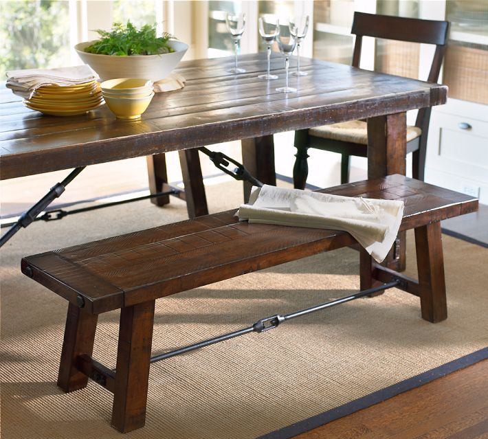 Epic Pottery Barn Benchwright Fixed Dining Room Table and Bench