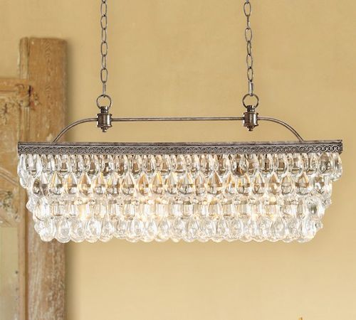 Pottery Barn Clarissa Glass Drop Extra Long Rectangular Chandelier
