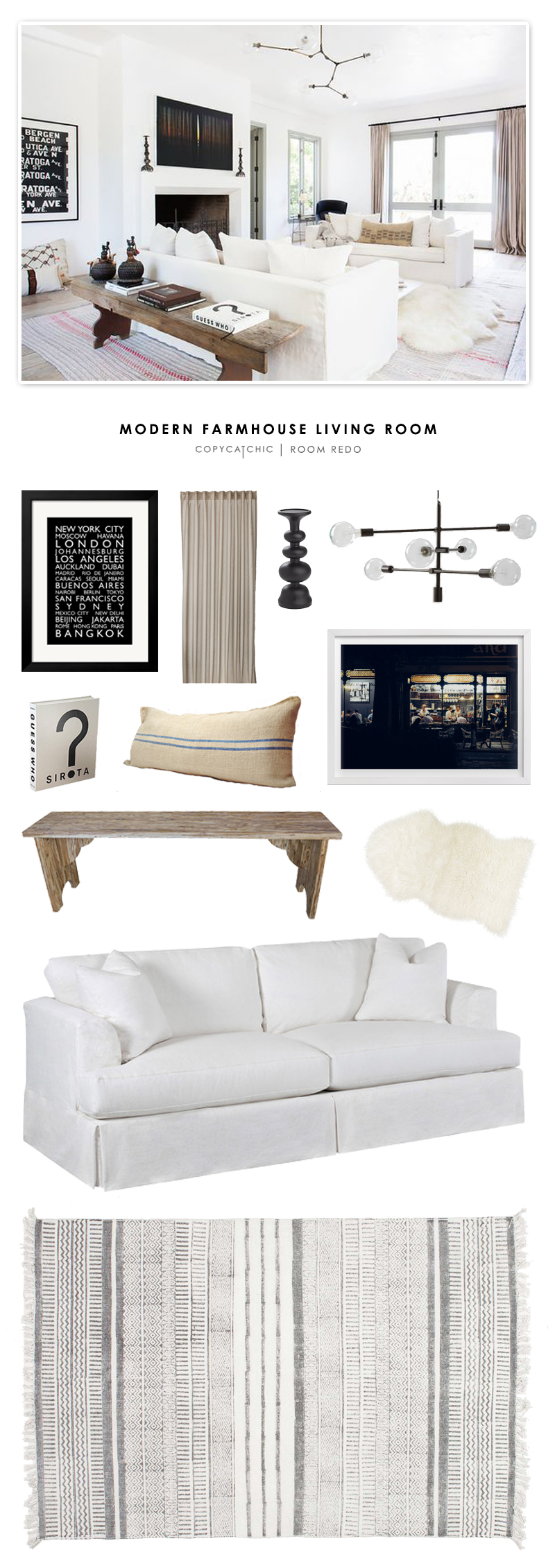 Modern farmhouse living room - A Bright And White Modern Farmhouse Living Room Designed By Vanessa Alexander And Recreated For Less