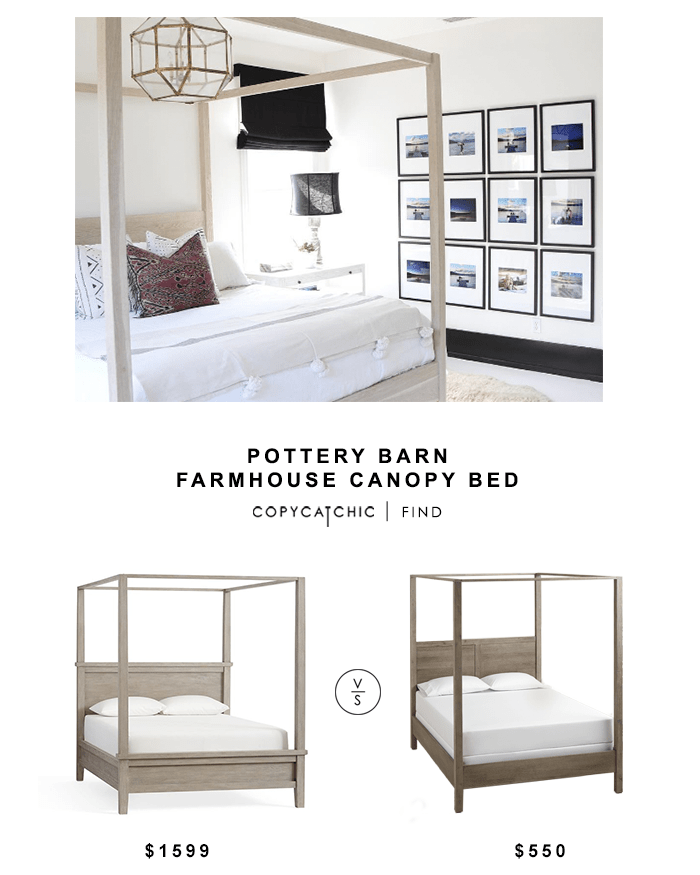 Fancy Pottery Barn Farmhouse Canopy Bed