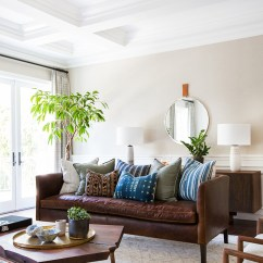 Modern Brown Leather Sofa Art Deco Table Copy Cat Chic Room Redo | Mid Century Boho Living ...
