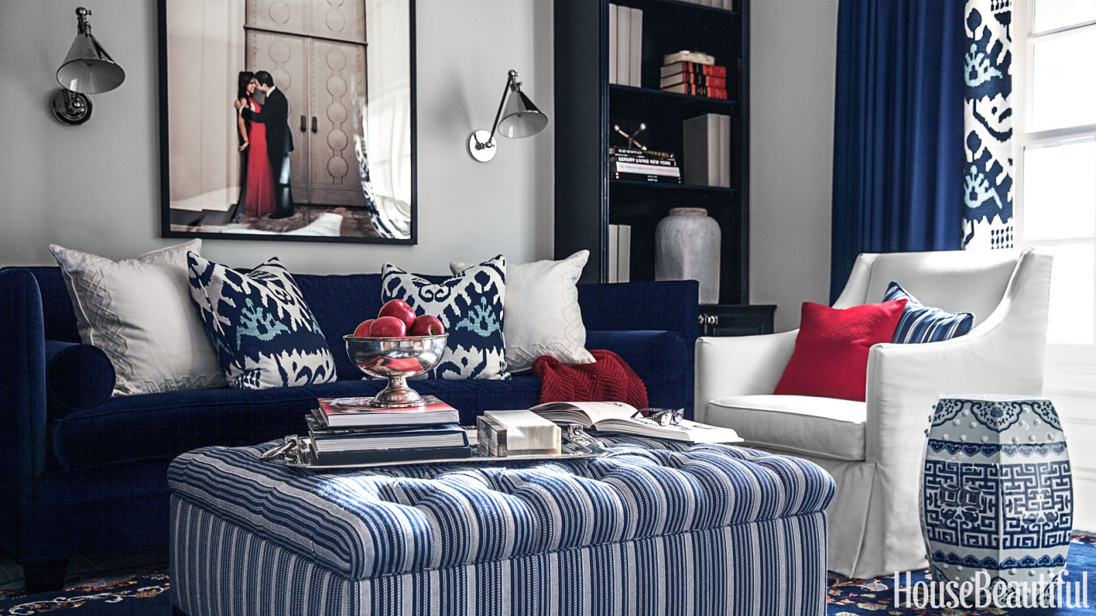 farmhouse glam living room best corner sofa for small copy cat chic redo | red, white and blue ...