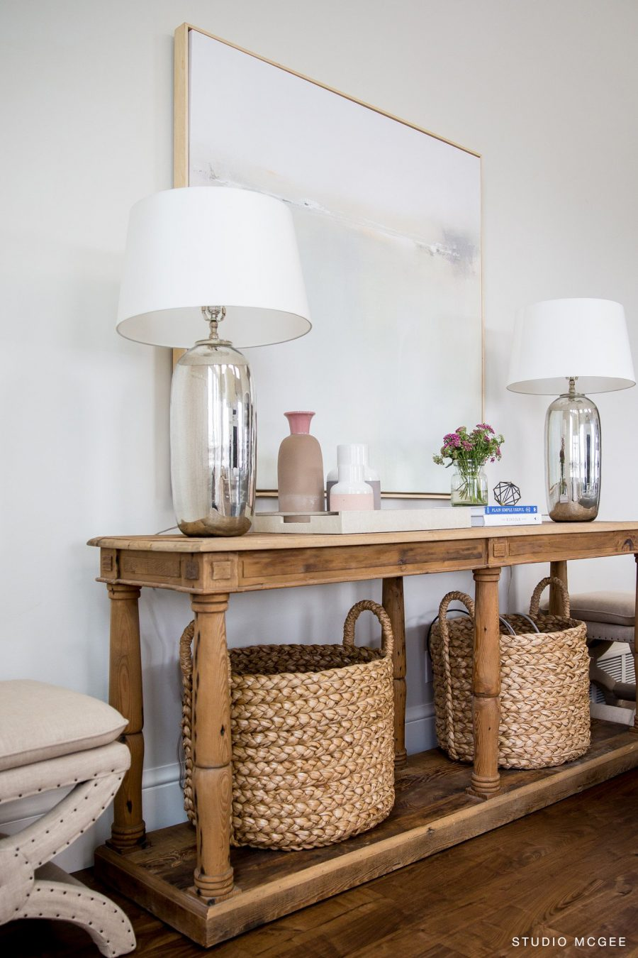 Entryway Table With Baskets