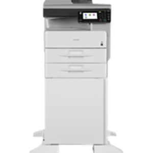 Ricoh Aficio MP 301SPF on a stand.  Generates up to 31 pages per minute. The tiltable, 4.3″ color touch-panel display makes for easy interface. Short recovery time of less than 10 seconds from Sleep Mode. High speed duplexing ability and enhanced first copy out time.