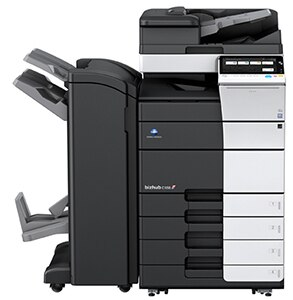 Konica Minolta Bizhub C558 prints 55 pages per minute Color/B&W. Dual scanning at up to 240 opm brings information into your workflow fast. Large 10.1 color panel with a new mobile connectivity area. Standard IWS/web browser. Standard 4 GB of memory. Fast processing CPU to provide high performance for office usage as central MFP. Downloadable apps from our bizhub Market Place to improve your productivity.