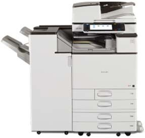 Ricoh MP C5503 prints 55 pages per minute with outstanding image reproduction. Environmentally responsible machine. The 1,200 x 1,200 dpi resolution provides superb text reproduction as well.
