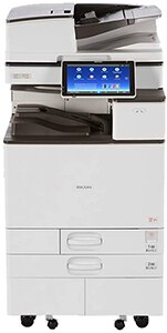 Ricoh Aficio MP C5504: 55ppm Color Multifunction System, 2-Sided Print, Scan, Copy, Auto Document Feeder, Networking, 1200 x 1200 dpi Image Quality, 2 GB Memory, 250 GB HDD, 2X550-sheet Letter/Legal/Tabloid Input Trays, 100-sheet Bypass Tray, Stand, Power Cord.