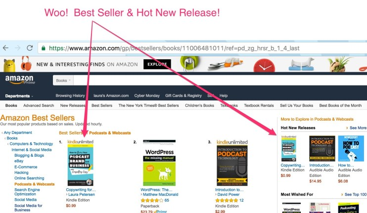 Here's a screenshot of my book as a best seller and a hot new release!