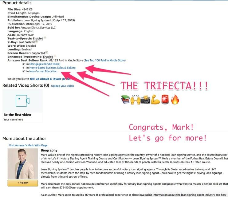 mark hit trifecta #1 bestseller