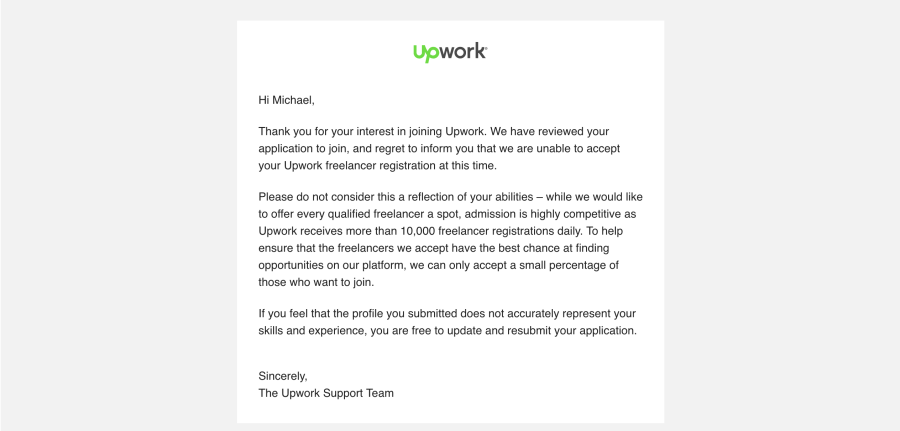 Upwork Refusal