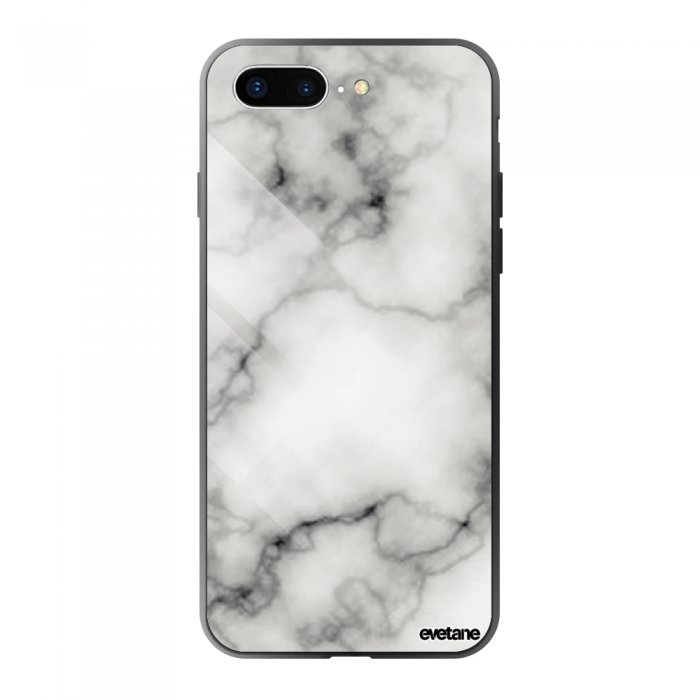coque en verre trempe iphone 7 plus 8 plus marbre blanc ecriture tendance et design evetane coquediscount
