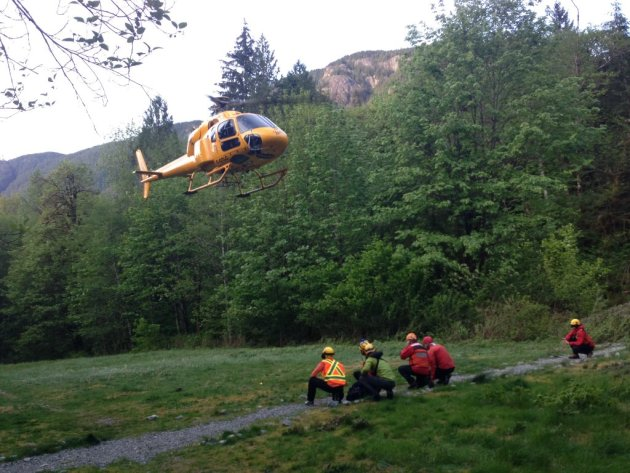 Rescued subjects landing at Buntzen Lake