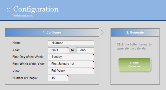 Configuration of the absence tracking template.