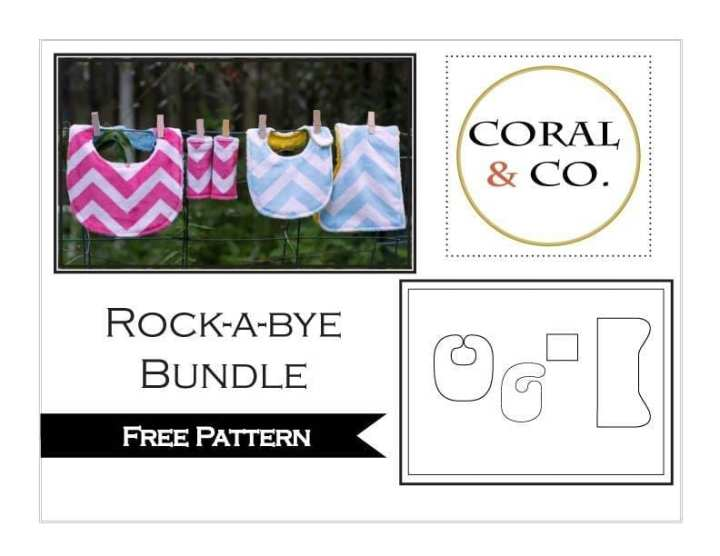 Rock-a-bye Bundle_free baby bib pattern and accessories. Easy DIY baby shower gift sewing pattern.
